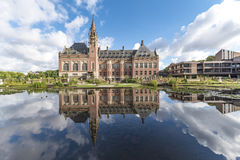 Peace Palace mirror. Pond and mirror of the Peace Palace Seat of the International Court of Justice, principal organ of the United Nations located in The Hague Stock Photography