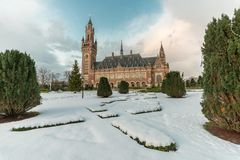 Peace Palace, Vredespaleis, garden under the snow