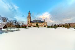 Peace Palace, Vredespaleis, under the Snow Stock Image