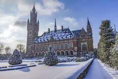 Peace Palace, Vredespaleis, under the Snow Royalty Free Stock Photos