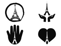 Peace for paris icons set Royalty Free Stock Image