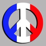 Peace for France. Illustration of Peace symbol with French flag to remember the victims of terror attacks in Paris and Nice Stock Photos