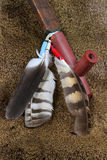 Peace Pipe. Native American Sacred Pipe With Feathers On Deerskin Background stock image