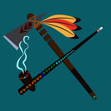 The Peace Pipe and the Ax of War. Tomahawk and tube on the world crossed together Stock Images