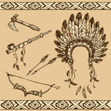 Peace pipe, Indian hat, dream catcher, ax, feathers and stars Stock Images