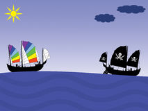 Peace and Pirate ships Stock Photos