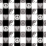 Peace Plaid in Black Stock Image