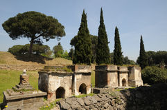 Peace of pompeii. Necropolis area of Pompeii in summer day, Italy Royalty Free Stock Photo
