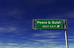 Peace & Quiet Freeway Exit Sign stock images