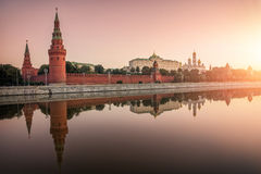 Peace and quiet. The Kremlin at sunrise and calm mirror reflection in the river Royalty Free Stock Photography