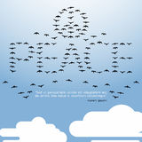 PEACE quote,All birds in the sky with cloud - Vector flat Stock Photo