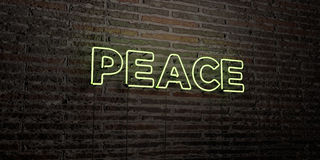 PEACE -Realistic Neon Sign on Brick Wall background - 3D rendered royalty free stock image. Can be used for online banner ads and direct mailers Stock Photo