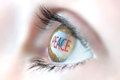 Peace reflection in eye. Stock Photo