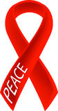 Peace Ribbon. 3D Red Peace Ribbon - isolated Stock Photography