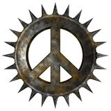 Peace. Rusty peace symbol with spikes on white background - 3d rendering Stock Images