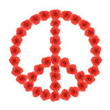 Peace shape red rose flowers on white background Stock Photos