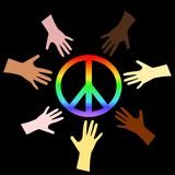 Peace Sign. An illustration of the Peace symbol and hands Stock Photography