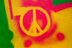 Peace sign. Highly detailed close up image of a grunge peace sign grafitti royalty free stock image