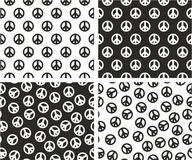 Peace Sign Aligned & Random Seamless Pattern Set Stock Photography