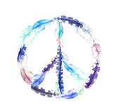 Peace sign - bird feathers. Vintage watercolor Stock Photo