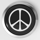 Peace Sign Button Shows Love Not War Stock Images