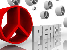 Peace sign close up and others. Signs flying around stock illustration
