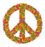 Peace sign from colorful leaves Royalty Free Stock Image