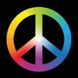 Peace Sign Colorful Rainbow Black Stock Images