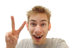 Peace sign dude Stock Photos