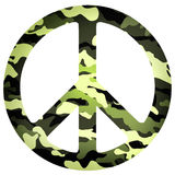 Peace sign flat icon with military pattern Stock Image