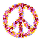 Peace sign of flower and hearts. Flower power peace sign built of flowers and hearts Royalty Free Stock Photo