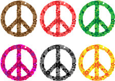 Peace sign flower power. Six peace sign flower power in different styles and colors Royalty Free Stock Photo
