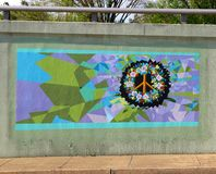 Peace Sign With Flowers Mural On James Road in Memphis, Tennessee. stock photos