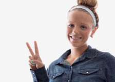 Peace sign girl Stock Photo