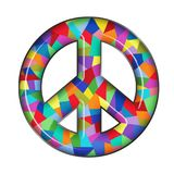 Peace Sign Glass. Colorful Glass Peace Sign with light reflection neon look hip plastic stock illustration