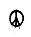 Peace sign graffiti spray in black over white Stock Photos