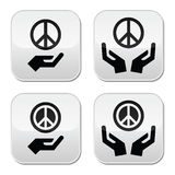 Peace sign with hands icons set. Vector icons set of peace sign with hands isolated on white Stock Images