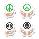 Peace sign with hands icons set Royalty Free Stock Image