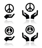 Peace sign with hands icons set. Vector icons set of peace sign with hands  on white Stock Photography