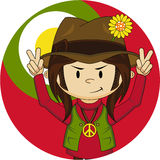 Peace Sign Happy Hippy Boy. Embrace the Flower Power Age of the Sixties with this Cute Cartoon Hippie Boy Vector Illustration Royalty Free Stock Photo