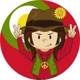 Peace Sign Happy Hippy Boy Royalty Free Stock Photo