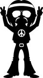 Peace Sign Happy Hippy Boy Silhouette. Embrace the Flower Power Age of the Sixties with this Cute Cartoon Hippie Boy - Black and White Silhouette Vector Stock Photos