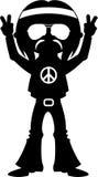 Peace Sign Happy Hippy Boy Silhouette Stock Photos