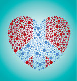 Peace Sign in a Heart. A heart with a peace sign inside of it to replicate a colorblind exam Royalty Free Stock Photo
