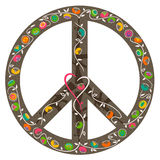 Peace sign, heart and flowers growing out of guns Stock Images