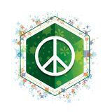 Peace sign icon floral plants pattern green hexagon button vector illustration
