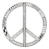 Peace sign isolated on white background. Zentangle stylized.  Stock Photography
