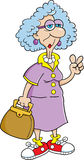 Peace sign lady. Cartoon illustration of a elderly lady holding a purse Royalty Free Stock Photos