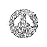 Peace sign leaf icon. Isolated on a white background Stock Photo