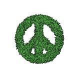 Peace sign leaf icon. Isolated on a white background Royalty Free Stock Photos